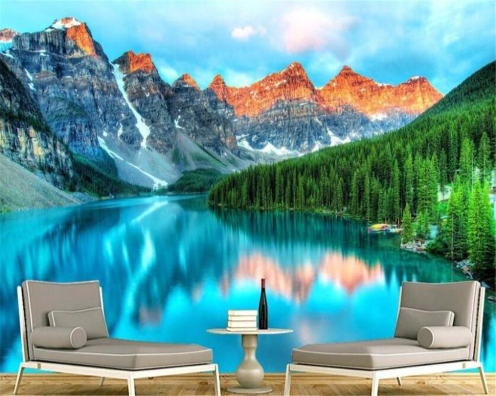 US $8 85 OFF Custom Wallpaper HD Landscape Beautiful Minimalist European 3d Nature Lake Water Wallpaper Hotel Decoration Mural Beibehang Custom