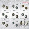 10 unids/lote 3D Glitter Nail Art Sticker Retro oval redondo Del Clavo de La Aleación