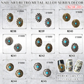 10pcs /lot 3D Glitter Nail Art Sticker Retro oval round Alloy Nail Decoration