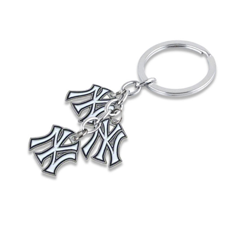4 Styles Dropshipping Enamel NY Yankee Bag Charms Car Key Chain For Baseball Baseball Fans Keyring Gift