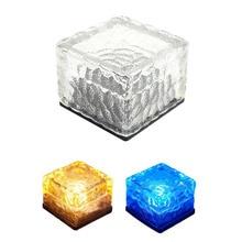 Waterproof Solar Power LED Ground Crystal Glass Ice Brick Shape Outdoor Yard Garden Deck Road Underground Light