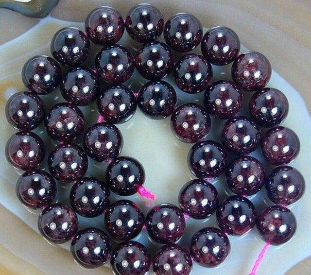 "wb 003112 Wholesale 5 Strands 8mm Natural Sri Lanka Garnet Round Stone Beads 15"""