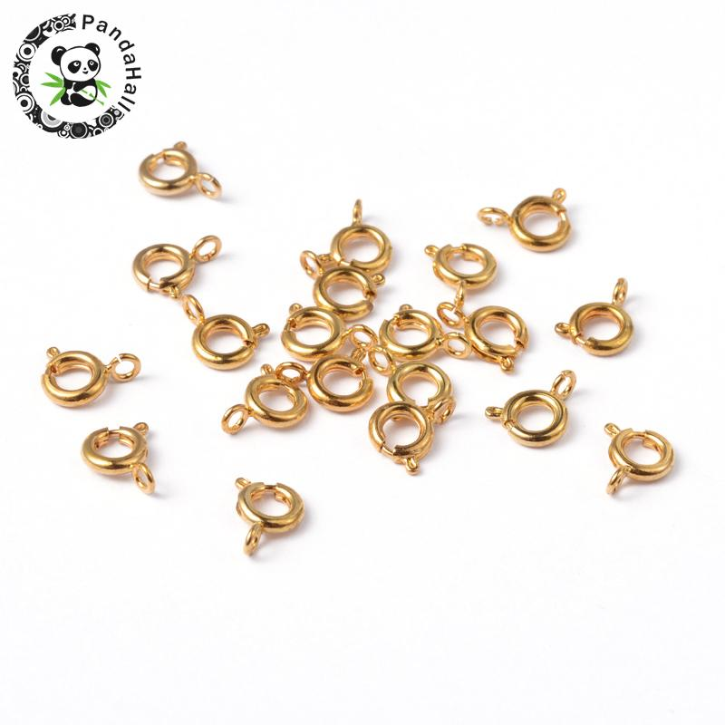 Brass Spring Ring Clasps, Jewelry Components, Golden Color, 6mm, Hole: 1.5mm