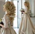 Vintage Lace Wedding Dress Half Sleeve Arabic Style Bridal Gowns Vestidos De Novia Satin Bride Dresses 2017