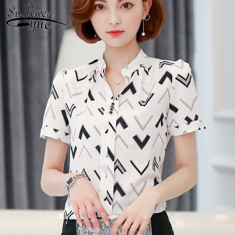 2019 Summer Chiffon Office Lady Blouse Women Shirt Fashion Short Sleeve Stripe Women's Clothing Women's Tops Blusas D759 30