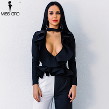 Missord 2018 Sexy Deep V Long Sleeve  Fold Solid Color Elegant  Top FT8759-1
