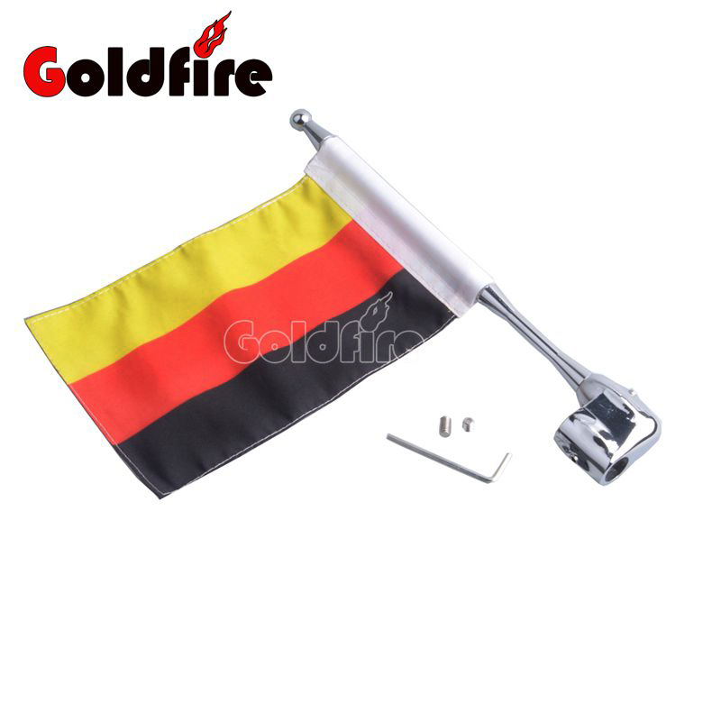 Motocycle Flag CNC Rear Side Mount Luggage Rack Antenna Vertical Gemany Flag Pole For Honda GoldWing GL1800 GL1500 2001-2012 motocycle cnc aluminum rear side mount luggage rack vertical flag pole american for harley touring road king glide