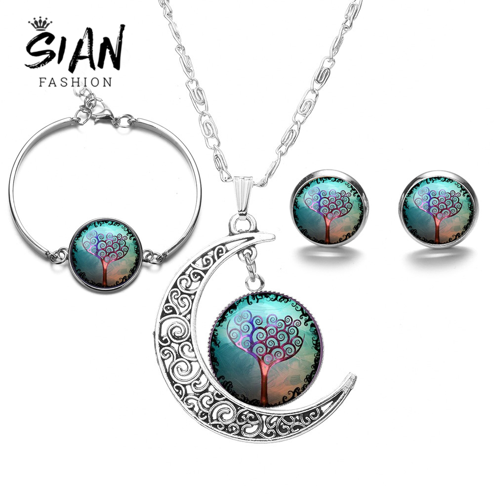 Jewelry-Sets Tree-Of-Life Bracelet Necklace Earrings Life-Tree Silver-Plated Fashion