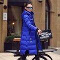 Плюс размер 2016 Новые Моды для Женщин С Капюшоном Пальто Зимнее Утка Пуховик Пальто Длинный Куртки и Пальто Famale Верхняя Одежда Mujer DX661