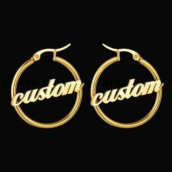 Spark 1 Pair Stainless Steel Custom Name Hoop Earrings Personalized Handmade Large Circle Earrings For Women Girls Birthday Gift цена 2017
