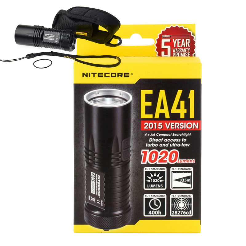 AA battery flashlight NITECORE EA41 EA41W CREE XM L2 U2 LED max 1020 lumen beam distance
