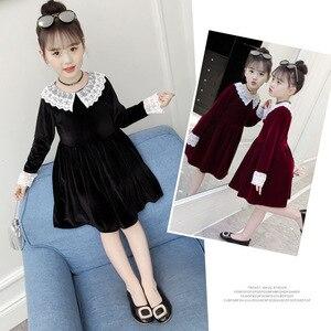 Image 1 - 4Colors New Girl Gold Velvet Spring Autumn Dress Girls Kids White Lace Flower Princess Dresses Children Clothes 3 14T