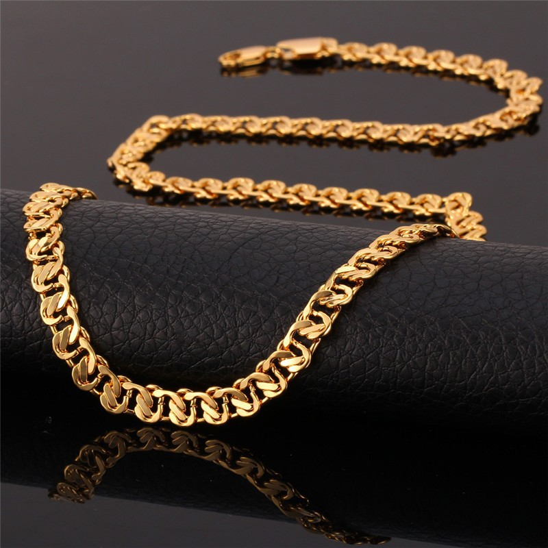 HTB1p8XAHpXXXXXuXFXXq6xXFXXXh - U7 Unique Necklace Trendy Gold/Silver Color Chain Necklaces Men Jewelry N377