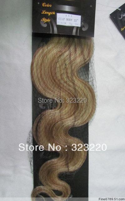 """22 """" de Remy do cabelo humano clipes em extensões do corpo ondulado 75 g Mixed Platinum Blonde # 27/613"""