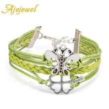 Ajojewel Cute Flower and Butterfly Leather Bracelets For Women Green Multilayer Braided Bracelets Jewelry Cheap new Year gifts(China)