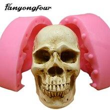 3D Skull แม่พิมพ์ซิลิโคน Fondant เค้กแม่พิมพ์เรซิ่นยิปซั่มเทียนช็อกโกแลต Candy Mould จัดส่งฟรี