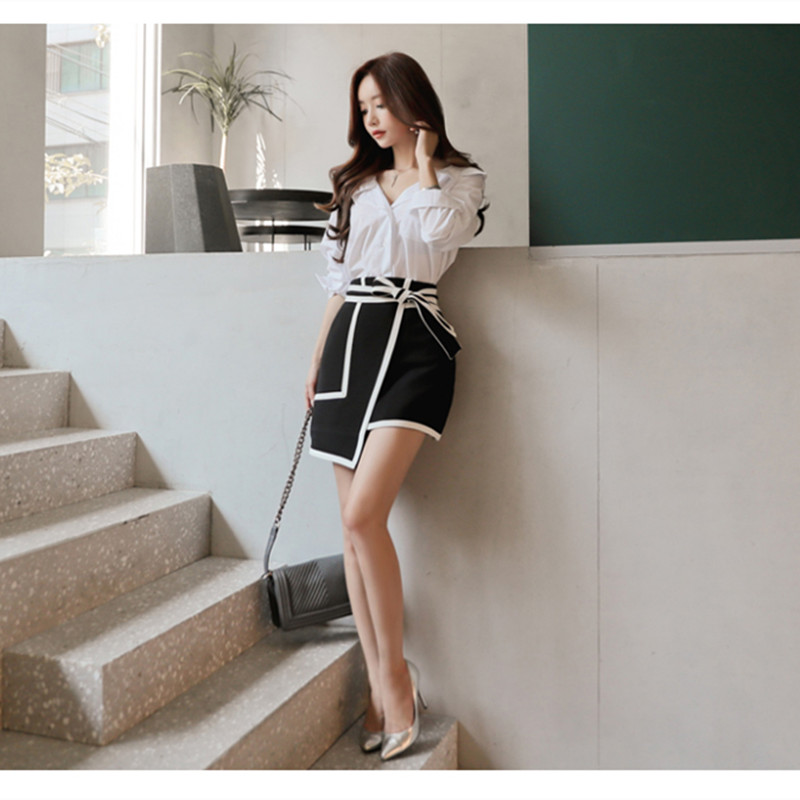 Noeud Black Street Blanc Fashion Noir Jupe Lady Work Mini Femmes Sexy Jupes Patchwork Asymétrique Marque High Wear vwtaqn