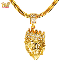 JFY Mens HIP HOP JEWELRY Iced Out 18 k Gold Plated  Lion Head Necklace With FREE Round Snake Gold Chain 30″Necklace For Unisex