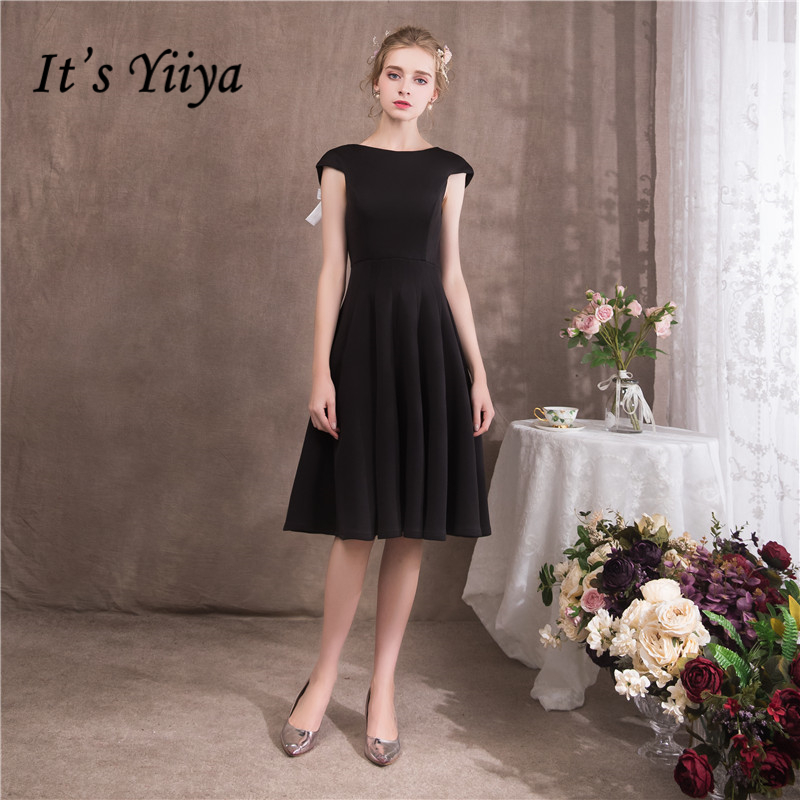 It's YiiYa 2018 O-Neck Sleeveless Sex Backless Blak   Cocktail     Dresses   Famous Designer Bow Simple Little Black   Dress   NX083