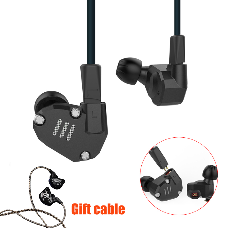Original 2DD+2BA Hybrid In Ear Earphone HIFI DJ KZ ZS6 Sport Headsets Earplug Headset Earbud For Xiaomi PC With earphone Cable 2016 senfer 4in1 ba with dd in ear earphone mmcx headset with upgrade cable silver cable hifi earbuds