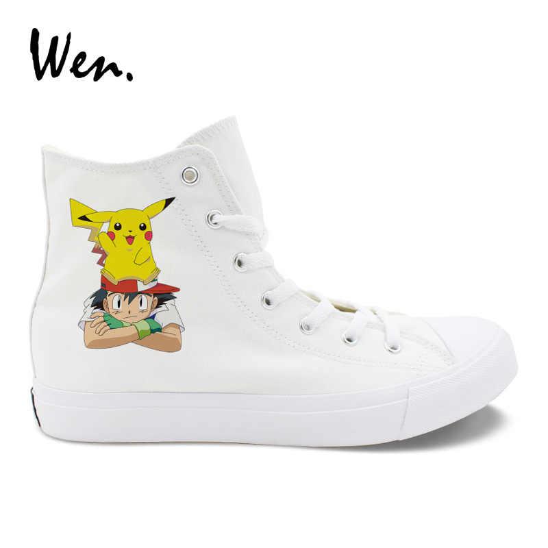 Wen białe buty mężczyźni trampki projekt popiołu Pikachu Anime Cosplay buty Pokemon kieszonkowy potwór krzyż pasy płaskie espadryle kobiet