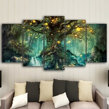 HD Printed Home  Paintings On Canvas Wall Art 5 Pieces Enchanted Tree Scenery Modular Vintage Pictures For Living Room paster