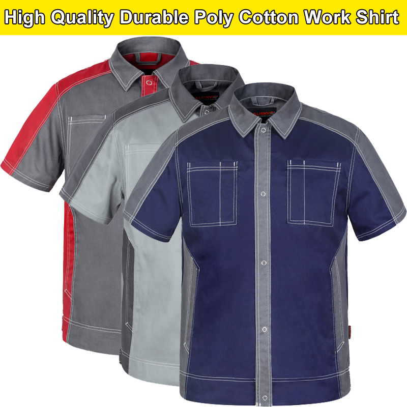 Bauskydd Bauskydd High quality Dark blue engineer workwear work polo shirt work uniform short sleeve shirt free shipping dark blue ripped details classic collar short sleeve men s casual denim shirt