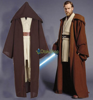 Unicórnio bonito Star Wars Obi Wan Kenobi Traje Cosplay Halloween Cavaleiro Jedi TÚNICA Com Capuz Manto Robe Adulto Mens Uniforme