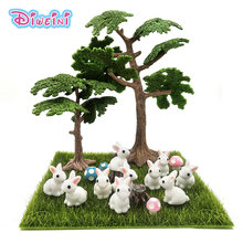 10pc/lot White Rabbit Miniature Figurine Cute cartoon Figures animal models Pet toy DIY Accessories Doll House toy Decoration(China)