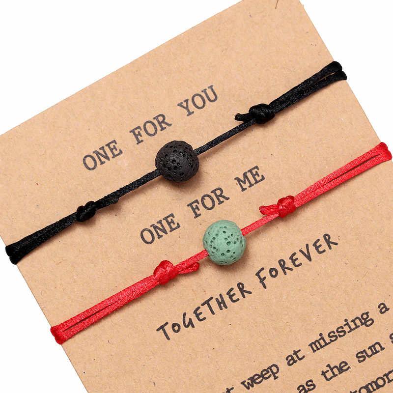 ZOSHI matowy lawa Charms kamień mężczyźni bransoletki dla par biżuteria dla kobiet 2 sztuk/zestaw bransoletki zestawy Masculina Bileklik Pulseira Feminina