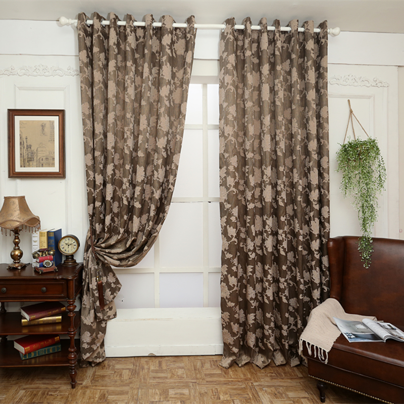 Aliexpress.com : Buy Free Shipping Brown Semi Blackout Curtains Blind  Luxury Jacquard Design Fashion Window Treatments Living Room Curtains From  Reliable ...
