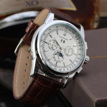Forsining Men\'s Watch Latest Automatic Business with Moon Phase Brown Genuine Leather Strap Wrist Watch Color Silver FSG319M3S2