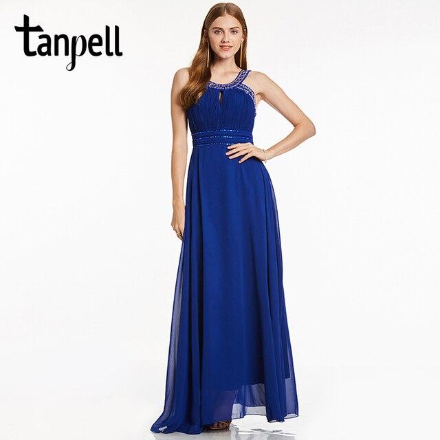 Tanpell ремни платье для выпускного вечера элегантный Королевский синий цвет бисером рукавов длиной до пола линии платья Женщины партия Формальное вечернее платье на выпускной