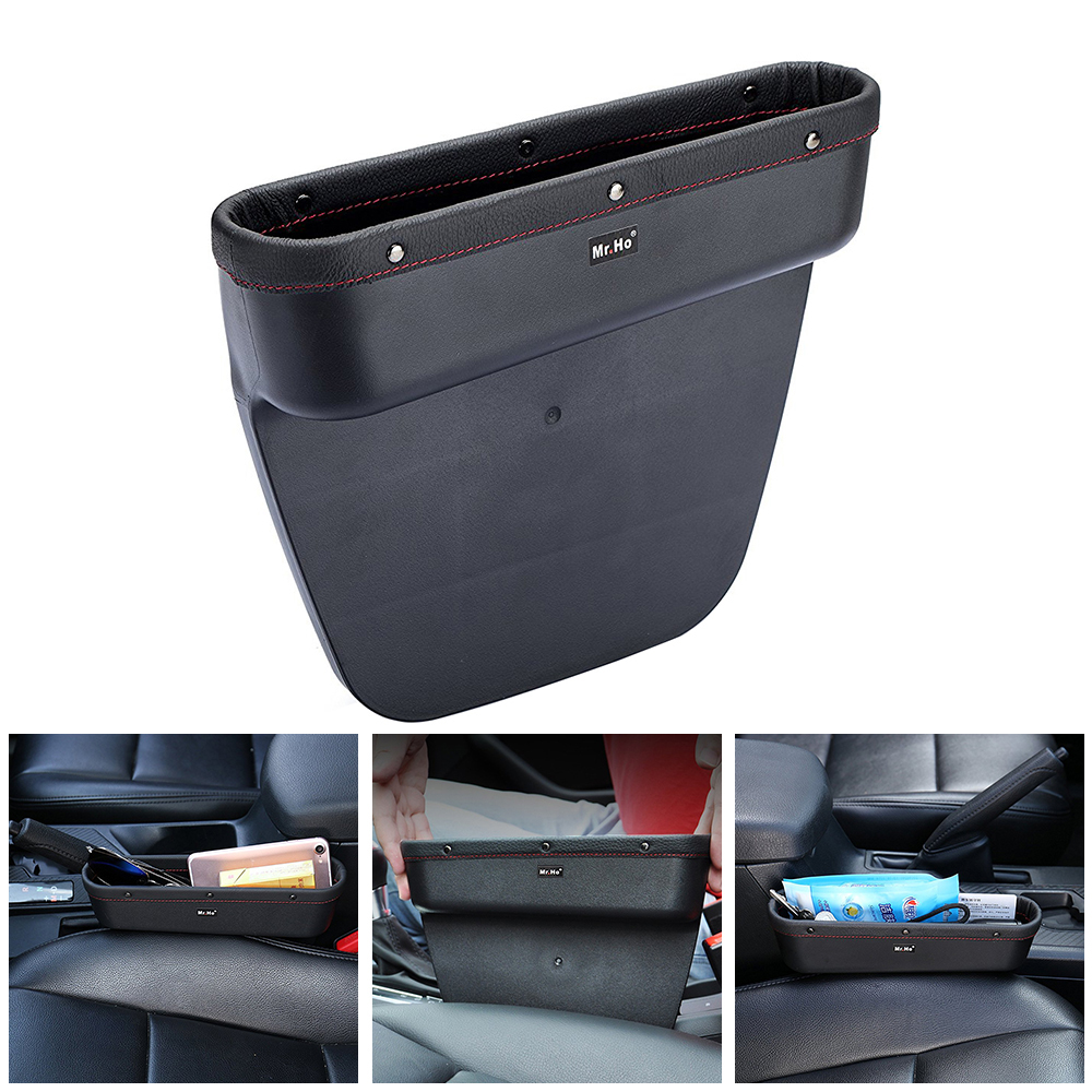 Car Seat Crevice Storage Box Genuine Leather Edge Caddy Pocket Organizer Glove Box For Keys Phones Cards Gap Stowing Tidying