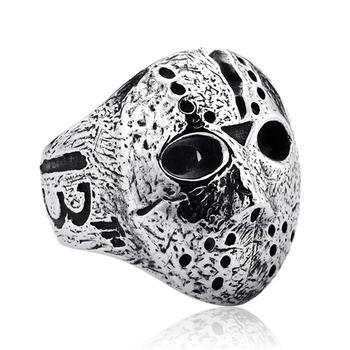 Uomo Nero Venerdì Jason Hockey Punk Rock Anello Maschera di Orrore Del Cranio Dell'anello di Barretta Regali Originali per Gli Uomini