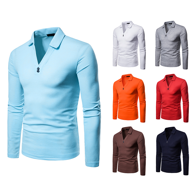 New men's brand clothing long-sleeved   POLO   shirt large size V-neck slim   POLO   shirt casual sports men's clothing