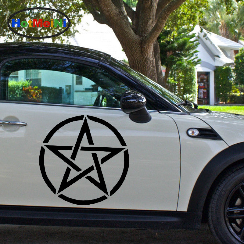 HotMeiNi 2 X Delicate Abstract Pentagram Military Badges Car Sticker for Truck SUV Trailer Canoe Home Decor Vinyl Decal 9 Colors free shipping 1pc 580mm dirty tire 4wd off road graphic vinyl sticker for 4x4 truck pickup decals badges detailing sticker