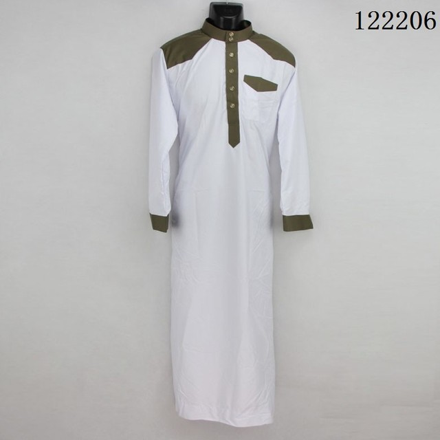 6 Colors abaya l'islam hommes Polyester/cotton islamic clothing men Stand collar color Stitching men's thobes