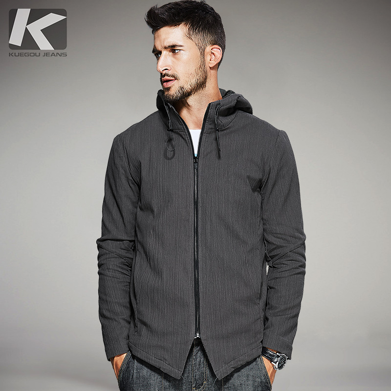 KUEGOU New Autumn Mens Hooded Jackets And Coats Pockets Zipper Coffee Color Brand Clothing For Mans Slim Clothes Male Tops 3805
