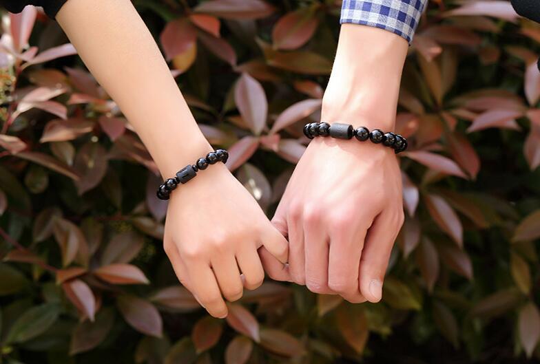 Black Carved Obsidian Beaded Bracelet