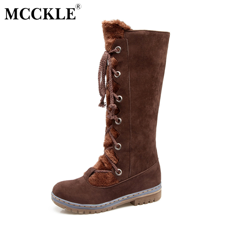 MCCKLE 2017 Female Winter Warm Plush Lace Up Mid Calf Snow Boots Ladies Thick Heel Black Platform Style Shoes Plus Size 34-43 ryvba woman winter mid calf snow boots women fashion womens half knee boots ladies shoes female warm thick plush boots flats