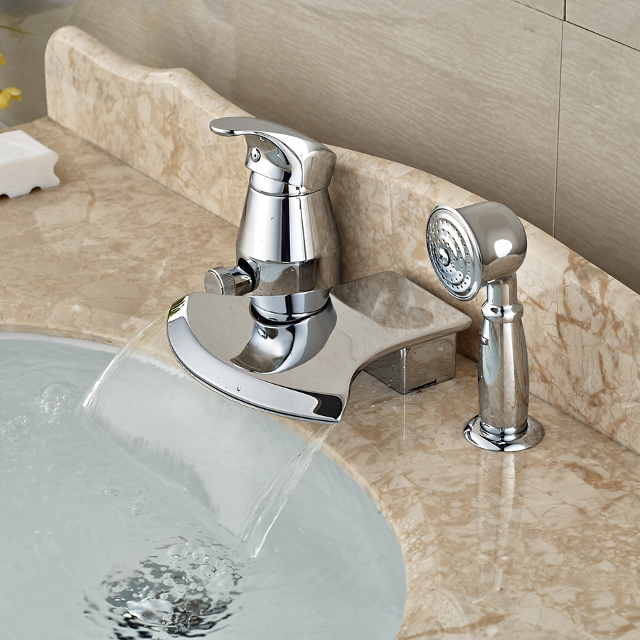 Wholesale And Retail Promotion Luxury Waterfall Spout Chrome Brass Bathroom Tub Faucet 3 pcs Sink Mixer Tap chrome brass square waterfall spout bathroom tub faucet 3 pcs sink mixer tap