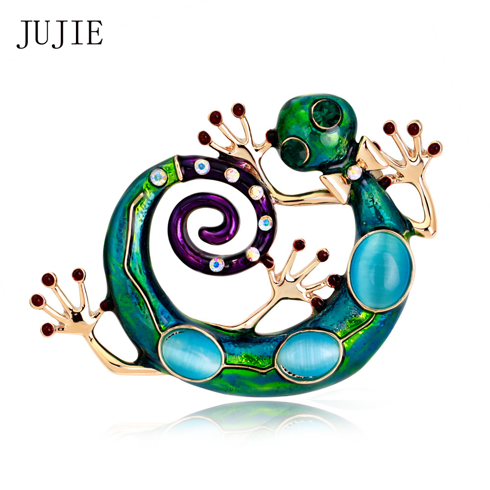 JUJIE Brooches For Women 2017 Corsages Green Natural Stone Animal Brooches Pins Large Blue Enamel Esmaltes Lizard Gecko Brooch