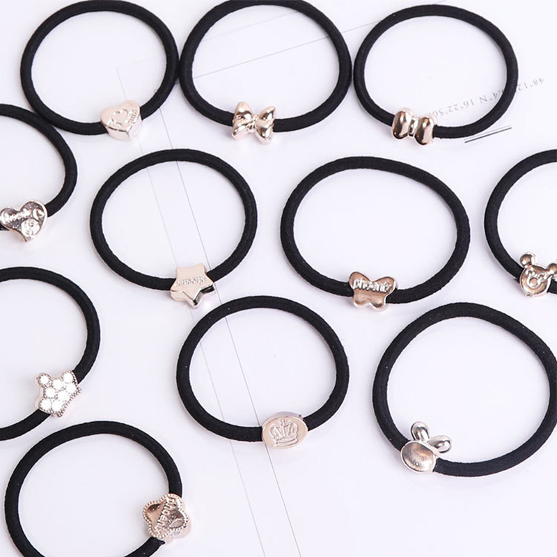 10PCS/Lot New Korean Hair Accessories For Women Black Elastic Hair Rubber Bands Girls Lovely Hair Ropes Ponytail Holder Tie Gums