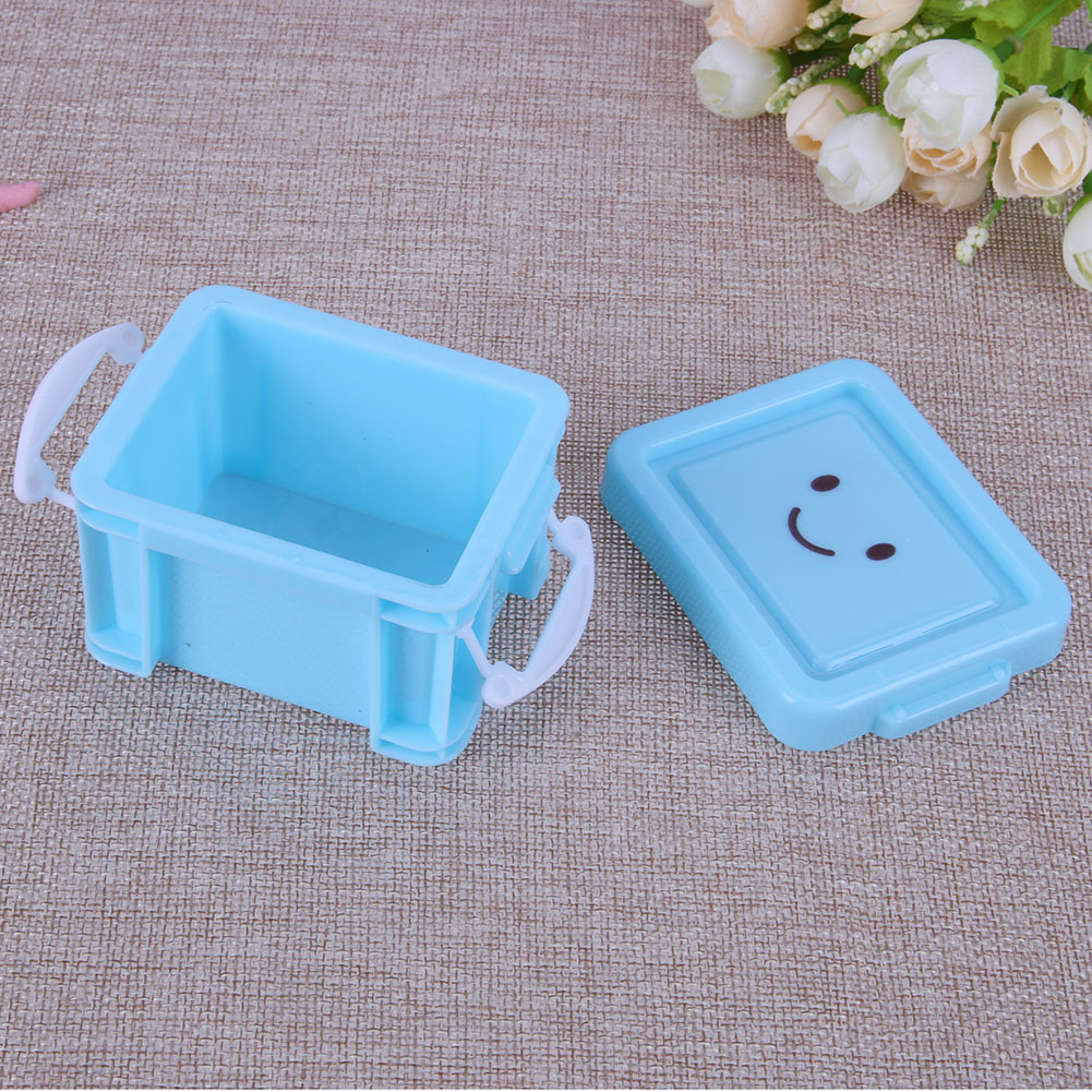 2017 New Cute Smile Storage Box Plastic Mini Desk Boxes Colorful Home Furnishing Trumpet Lock Box Storage Organizer