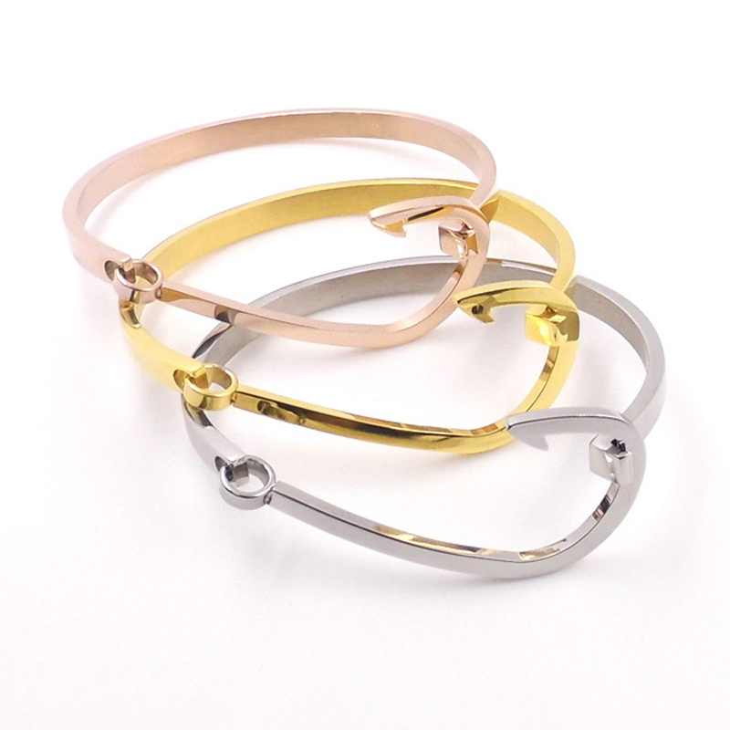 Aliexpress New Fashion Brand Fish Hook Bracelets For Women Men Gold Silver Rose Plated Stainless Steel Bangles Jewelry From