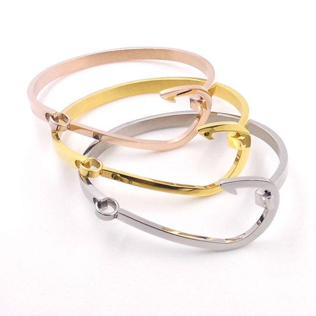 New Fashion Brand Fish Hook Bracelets For Women Men Gold Silver Rose Plated
