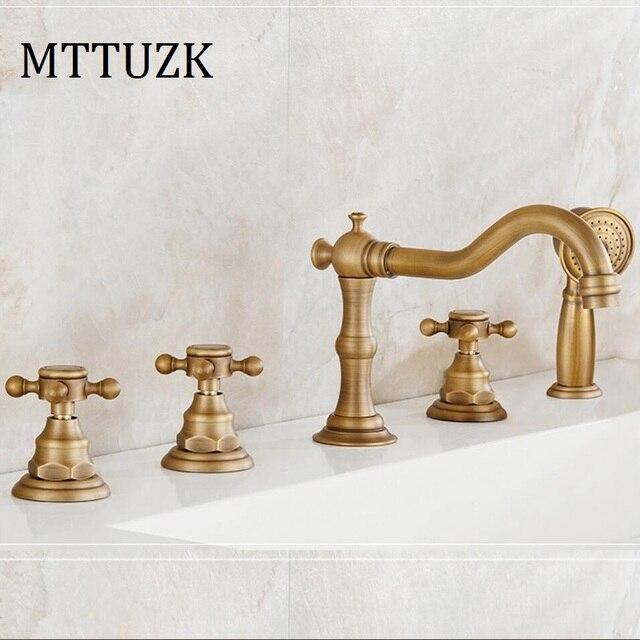 Mttuzk Antique Copper Bathroom Faucet Hot And Cold Bathtub Faucet