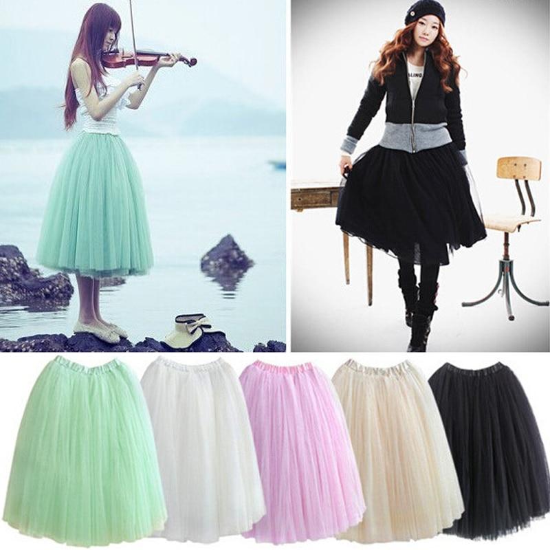 5 Layers Midi Tulle Skirt for Girls Fashion Tutu Skirts Women Solid Lace Ball Gown Party dance Petticoat Lolita faldas saia jupe