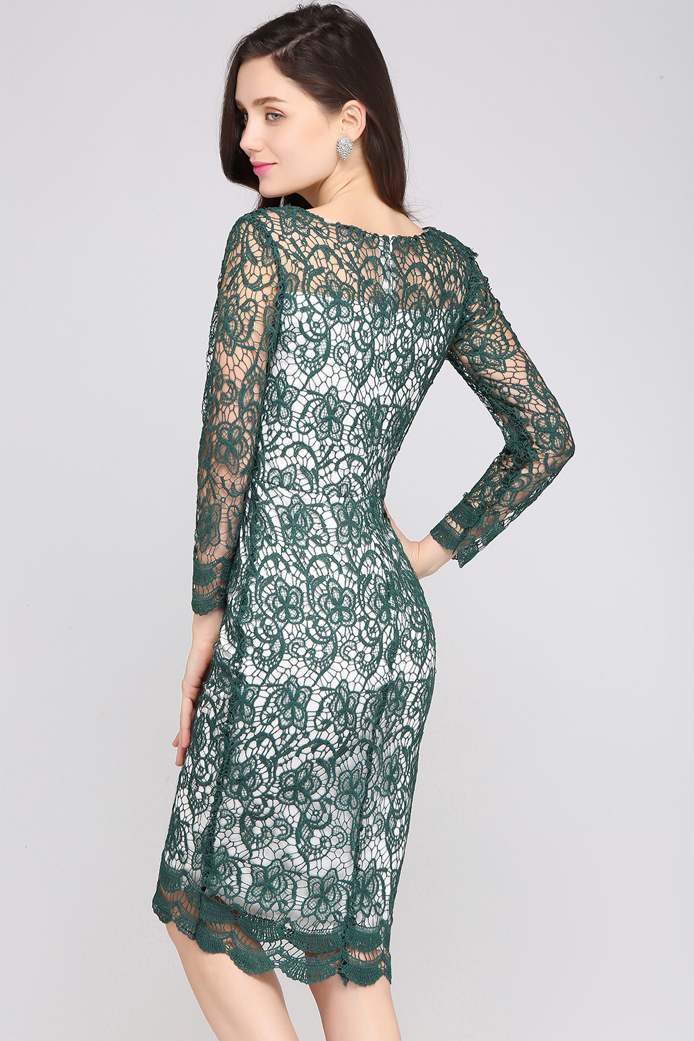 Babyonline Green Lace Cocktail Dresses 2017 Knee Length Long Sleeves ...